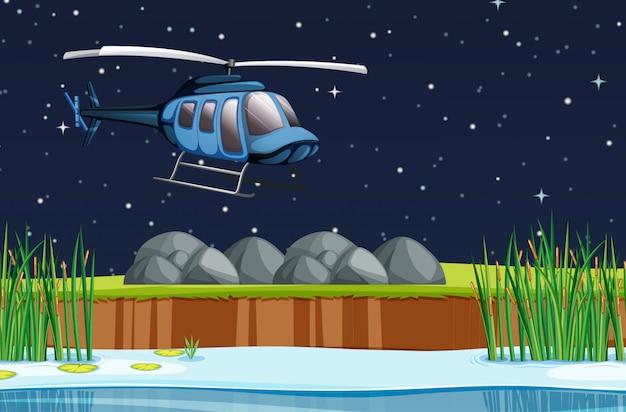 Scène met vliegtuig dat in de hemel bij nacht vliegt Premium Vector