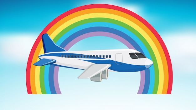 Scène met vliegtuig dat in de hemel vliegt Gratis Vector