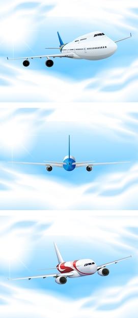 Scène met vliegtuigen die in de hemel vliegen Gratis Vector
