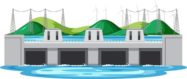 Scène met waterdam en turbines op de heuvels Gratis Vector