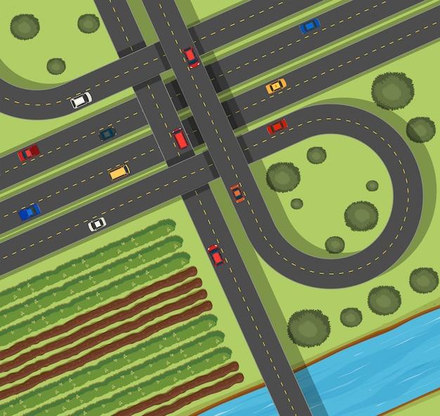Scène met wegen in platteland Gratis Vector