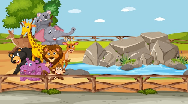 Scène met wilde dieren in de dierentuin overdag Premium Vector