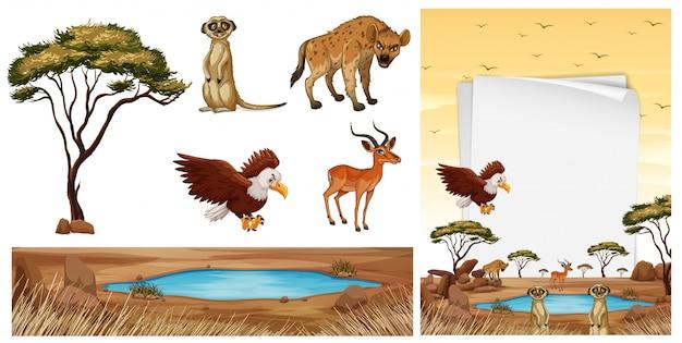 Scène met wilde dieren in de savanne Premium Vector