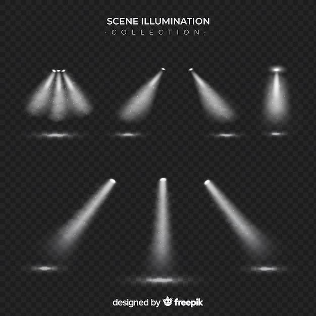 Scène spots collectie Gratis Vector