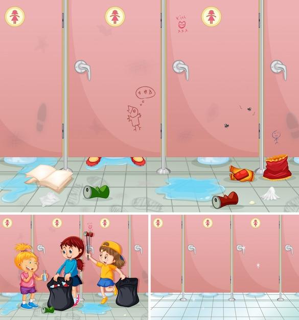 Scène van kinderen die een badkamers schoonmaken Premium Vector