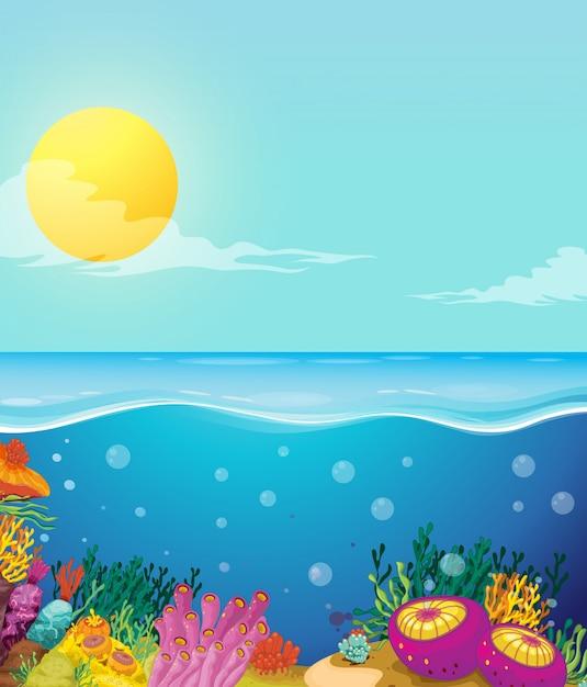 Scène van oceaan en onderwaterachtergrond Gratis Vector