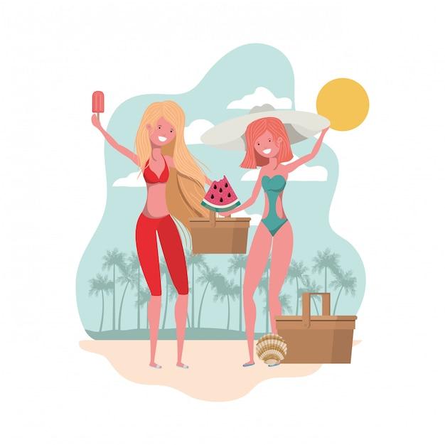 Scène van vrouwen met een gedeelte van watermeloen in de hand Gratis Vector