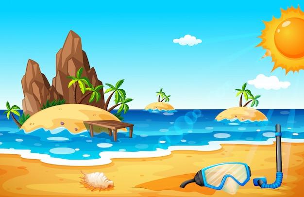 Scèneachtergrond met eilanden en strand Premium Vector