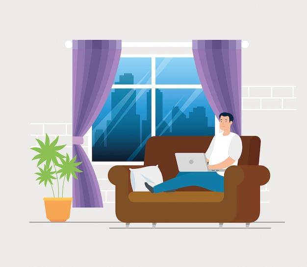 Scènemens die thuis in woonkamer werken Gratis Vector