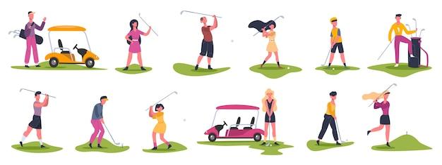 Scènes met golfmensen. mannelijke en vrouwelijke golfers, golfkarakters jagen en slaan bal, golfers die buitensporten spelen illustratie pictogrammen instellen. de golfspeler speelt vrouwelijk en mannelijk, golfsportcompetitie Premium Vector