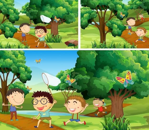 Scènes met kinderen die insecten in de tuin inhalen Premium Vector