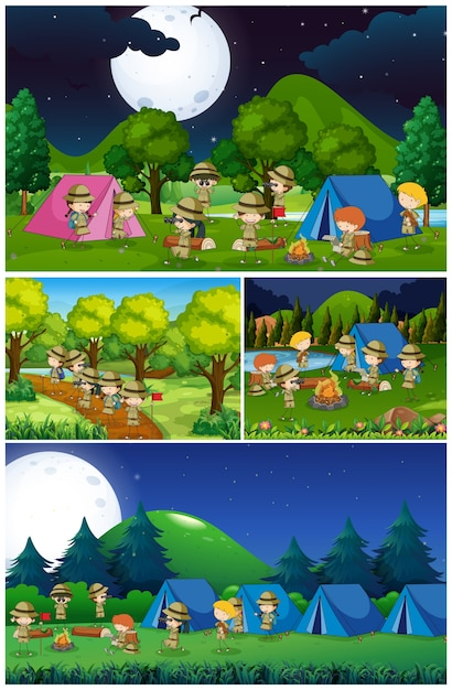 Scènes met kinderen kamperen in het park Premium Vector
