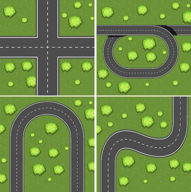 Scènes met wegen op het grasland Gratis Vector