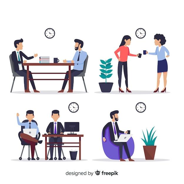 Scènes uit de kantoorcollectie Gratis Vector