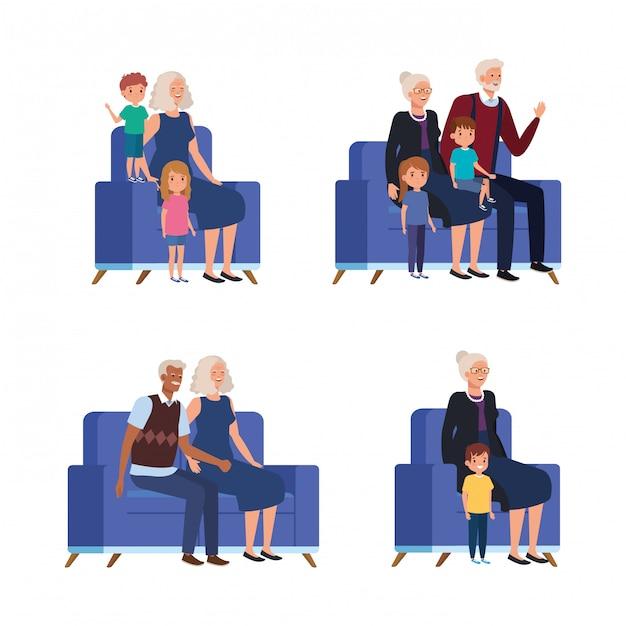 Scènes van grootouders met kleinkinderen zittend in bank Gratis Vector