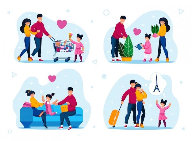Scènes voor gelukkige jeugd en ouderschap ingesteld Premium Vector