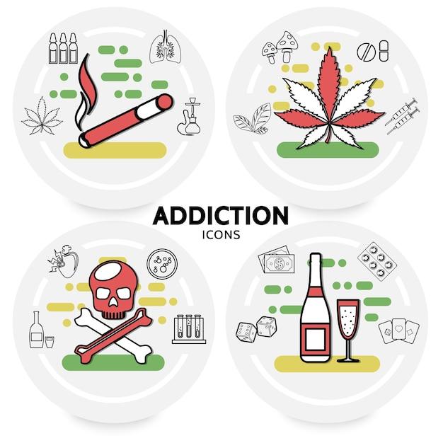Schadelijke verslavingen concept met sigaretten marihuana verlaat zieke longen waterpijp schedel alcohol geld dobbelstenen Gratis Vector