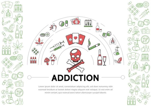 Schadelijke verslavingen sjabloon met schedel buizen, drugs, tabak, marihuana, bladeren, chips, geld, speelkaarten Gratis Vector