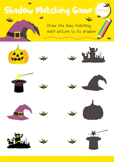 Schaduw matching game halloween Premium Vector