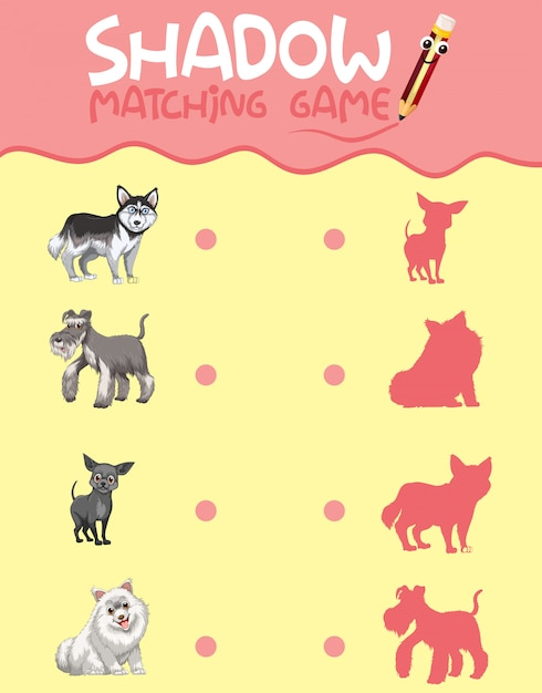 Schaduw matching game sjabloon Gratis Vector