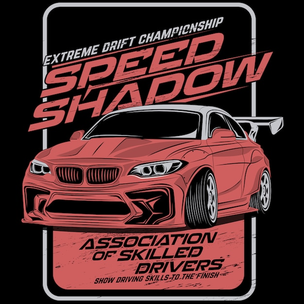 Schaduw snelheid drift, vector auto illustraties Premium Vector