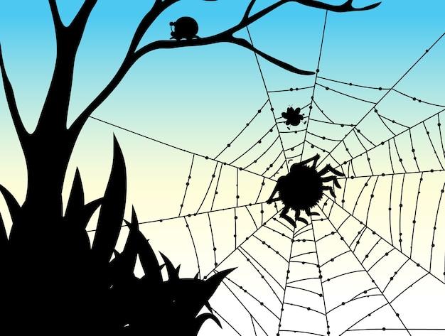 Schaduw van spinnenweb natuur achtergrond Gratis Vector