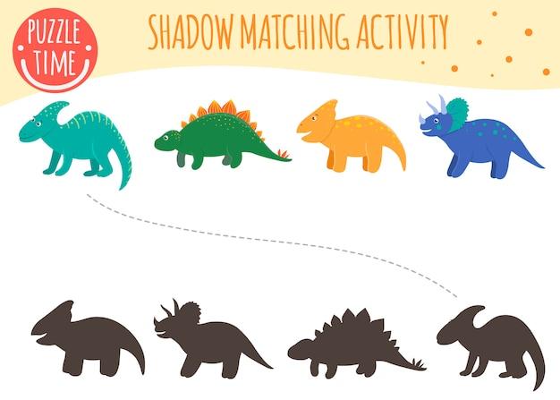 Schaduwaanpassingsactiviteit voor kinderen. dinosaur onderwerp. leuke grappige lachende dino's. Premium Vector