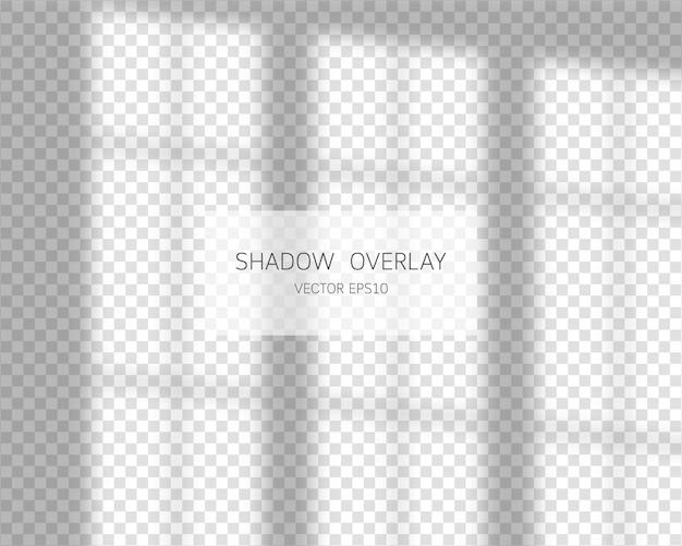 Schaduwoverlay-effect. natuurlijke schaduwen op transparante achtergrond. illustratie. Premium Vector