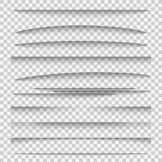 Schaduwverdelers. lijn papier ontwerppaneel schaduweffecten verdeler webpagina rand sjabloon tabbladen groep, webframe-elementen Premium Vector