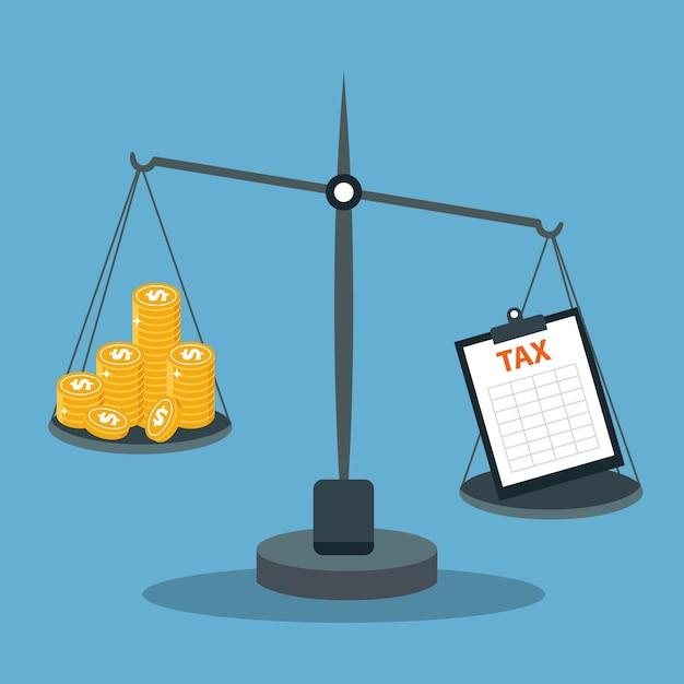 Schalen met geld en belastingen Gratis Vector