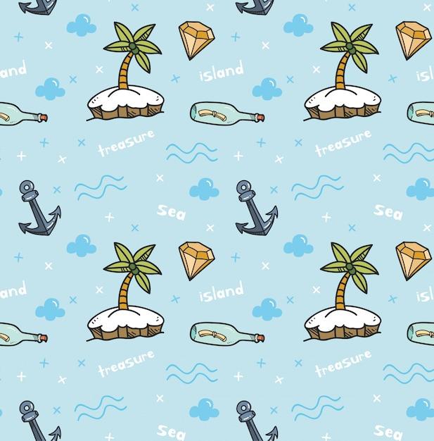 Schat eiland naadloze achtergrond in kawaiistijl Premium Vector