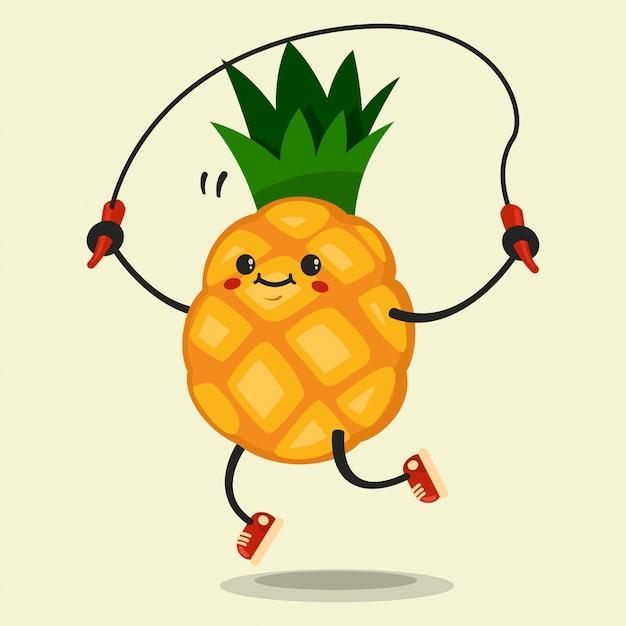 Schattig ananas stripfiguur maakt de springtouw oefeningen. gezond eten en fitness. illustratie geïsoleerd. Premium Vector