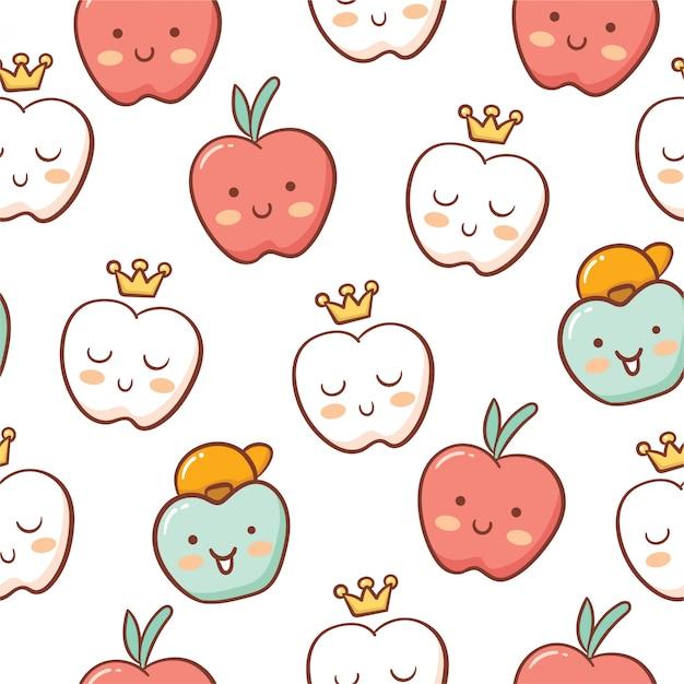 Schattig appel doodle stijl naadloos patroon Premium Vector