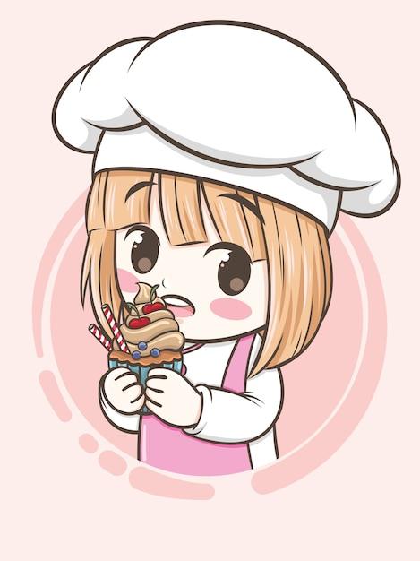Schattig bakkerij chef-kok meisje met een cupcake - stripfiguur en logo illustratie Premium Vector