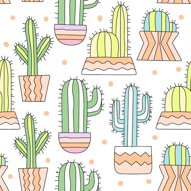 Schattig cactus cartoon naadloze patroon Premium Vector