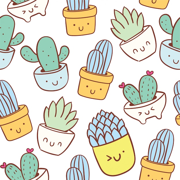 Schattig cactus doodle cartoon naadloze patroon Premium Vector