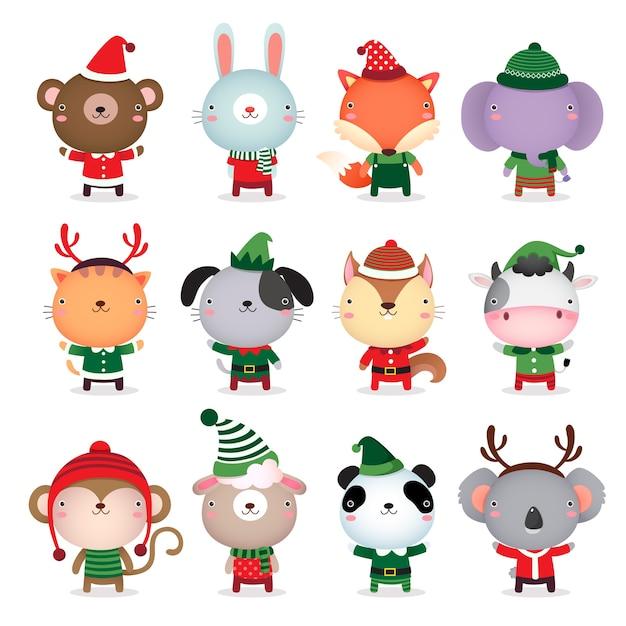 Schattig dierenontwerp met themakostuums voor kerstmis en winter Premium Vector