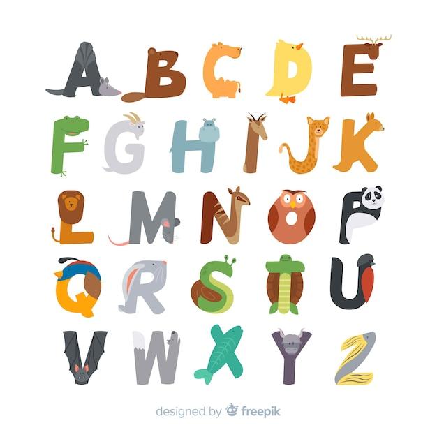 Schattig dierlijk alfabet plat ontwerp Gratis Vector