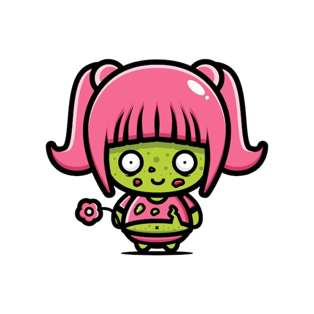 Schattig dik meisje zombie vector ontwerp Premium Vector