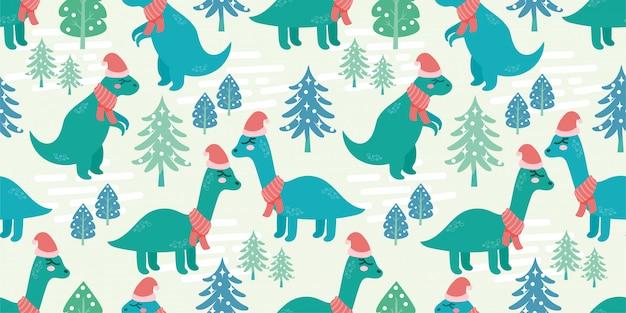 Schattig dino dier naadloze patroon doodle dinosaurussen winter Premium Vector
