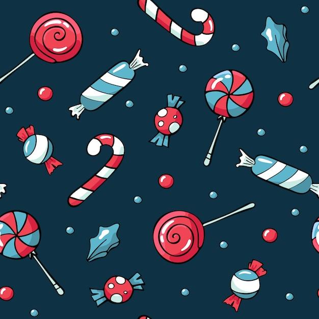 Schattig doodles kerst snoep patroon Premium Vector