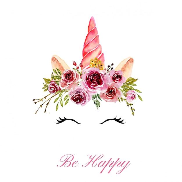 Schattig eenhoornhoofd met aquarel bloemen roze kroon Premium Vector