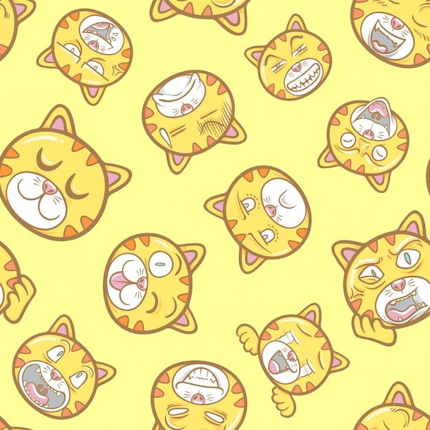 Schattig en grappig huisdier kat emoticons illustratie patroon naadloos Premium Vector