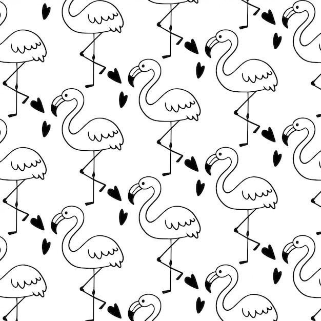 Schattig flamingo doodle naadloze patroon Premium Vector