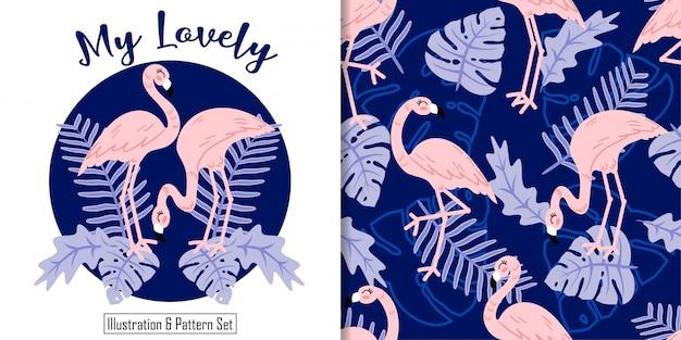 Schattig flamingo tropische bladeren hand getrokken kaart naadloze patroon Premium Vector