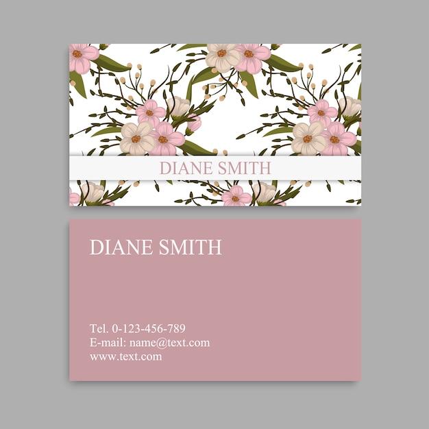 Schattig floral patroon visitekaartje naam kaart ontwerpsjabloon Premium Vector