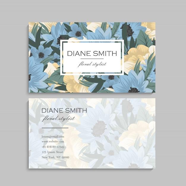 Schattig floral patroon visitekaartje naam kaart ontwerpsjabloon Gratis Vector