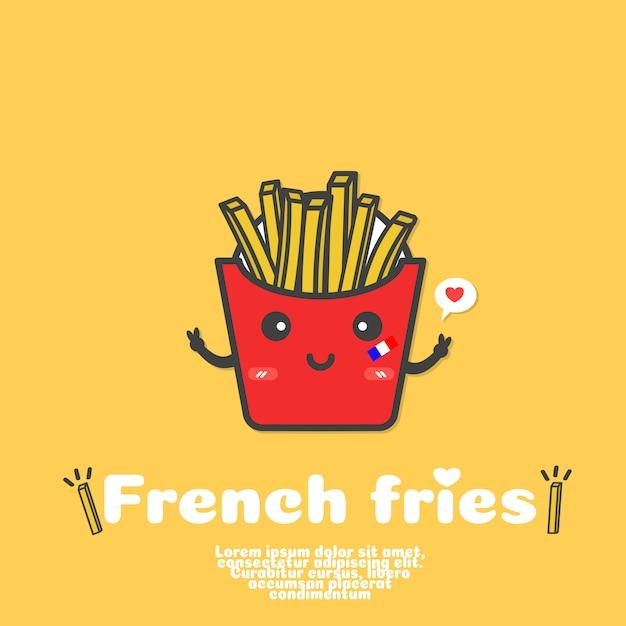 Schattig franse frietjes cartoon vector. kawaii eten concept. Premium Vector