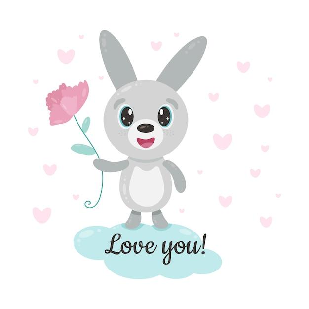 Schattig glimlachend konijntje met bloem Premium Vector