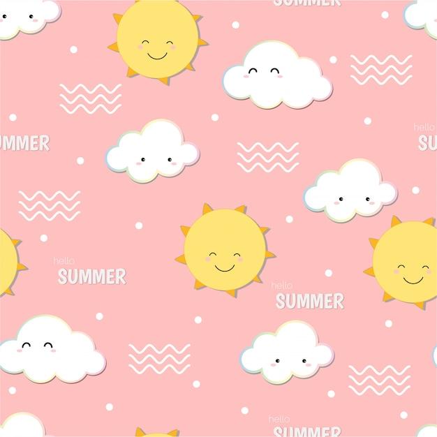 Schattig hallo zomer, glimlachend zon en wolk doodle naadloze patroon achtergrond. Premium Vector